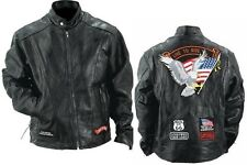 Men's Buffalo Leather Motorcycle Jacket w/USA Patches NEW