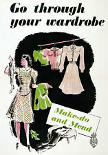 WB18 Vintage WW2 Make Do And Mend Clothes British WWII War Poster Re-Print A4