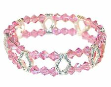 LIGHT ROSE PINK Crystal Bracelet 2-Strand Silver Stretch Swarovski Elements