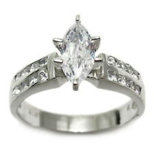 Sterling Silver Marquise Cut 1.07 Ct CZ Engagement Ring