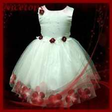 R476 Girl Kid Red Christmas Wedding Flower Girls Dress SZ 9-18 Mths-1-2-3-4-5-6T
