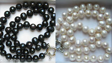 8-9mm Cultured Pearl Necklace in Black or White