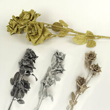 3 Head Bling Glitter Rose Spray with Leaves Shint Metallic Artificial Flowers