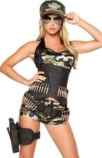 Sexy Womens Army Military Cadet Camouflage Outfit Adult Halloween Costume NEW