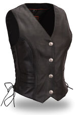 Women Ladies Black Leather Braided Buffalo Nickel Vest