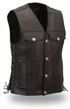 Mens Black Leather Buffalo Nickel Motorcycle High Pocket Vest w Side Lace