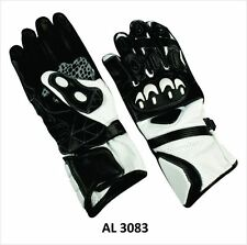 Leather Sport Riding Gloves Black / White w Armored Knuckles - Mens