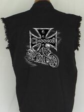 MEN'S BIKER SLEEVELESS DENIM SHIRT Choppers CROSS SKULL RIDER M-XL 2X 3X 4X 5X