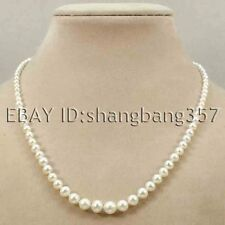 beautiful AAA 4mm-8mm white pink fresh water akoya round cultured pearl necklace