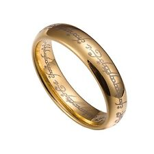 Gold Tungsten Carbide 5mm Lord Of The Rings Band Plain Size 5-12 TG021