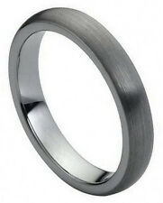 4mm Tungsten Carbide Men Women Wedding Band Ring Brushed Domed Classic Style