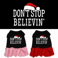 Dont Stop Believin Christmas Dog Dress Pet Puppy Princess Clothes Apparel Skirt