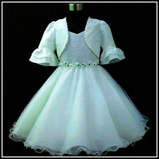 Off White Wedding Party Flower Girls Dresses + Cardigan SIZE 2,3,4,5,6,7,8,9,10Y