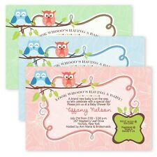 Owl Invitations Baby Shower Bridal Girl Boy Your Color CUSTOM Owls Baby Shower
