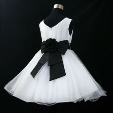 BL668 Black White Wedding Pageant Flower Grils Dress SIZE 1,2,3,4,5,6,7,8,10,12Y