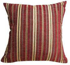 Wd30Ba Gold Light Gold Grey Stripe on Wine Red Cotton Cushion Cover/Pillow Case