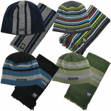 Lambretta Mens Winter Reversible Beanie Hat & Scarf Set