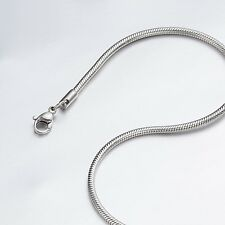 """2.4mm 16""""-40"""" Silver Stainless Steel Snake Necklace Chain Sb13 USA Seller"""
