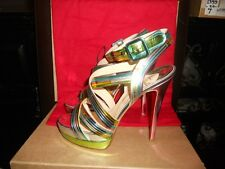 Christian Louboutin METEORITA Metallic Platform Strappy Sandals Shoes 38.5, 39