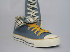 WOMEN'S Converse Chuck Taylor ALL STAR Roll Down Blue Plaid Hi Top 2 pair laces