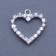 10x Rhinestone Crystal Diamante Silver Plated Heart Pendants Charms Beads