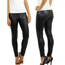S M L Sexy Womens Skinny Faux Leather Shiny Wet Look Leggings Pants