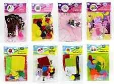 CHILDRENS MAKE YOUR OWN CRAFT KITS GIRLS OR BOYS PARTY GIFT FELT GLUE SEQUINS
