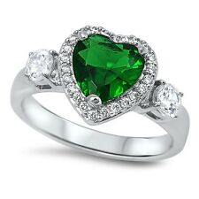 EMERALD GREEN HEART PROMISE .925 Sterling Silver Ring Sizes 6-10
