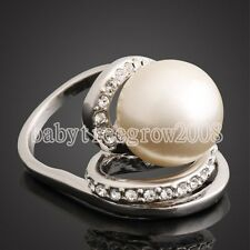 18K White Gold GP Swarovski Crystal Pearl Cooktail Fashion Ring 211
