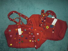 NEW DUFFLE  RANJIT BUSCH RED WOOL POLKA DOT& FLOWERED -GREAT GIFT! WEEKENDER!!!