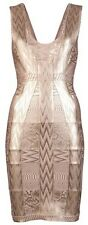 HERVE LEGER Aerin Foil Print Metallic Coated Bandage Tank Dress Rose Gold $1700