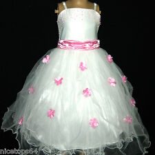 P408 Pink White Fairytale Party Dress Flower Girls Dresses SIZE 1,2,4,6,8,10,12T
