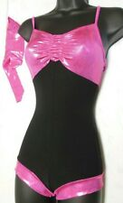 NWT ACRO FOIL SHORTY UNITARD FL CERISE GIRLS CAMISOLE DANCE JAZZ HIP HOP CHILD