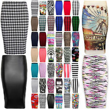 WOMENS LADIES MIDI PENCIL PLAIN STRIPED BODYCON HIGH WAIST TUBE WIGGLE SKIRT
