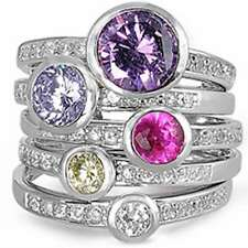 5 RINGS Gemstone & White Topaz STACKABLE .925 Sterling Silver Ring Sizes 5-10