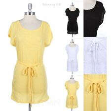 Plain Short Sleeve Tunic Dress with Braid Belt Round Neck Comfort Loose Fit Easy