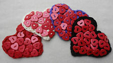Handmade Crochet HEART & BUTTON Corsage/Brooch RED HEARTs PEARLY QUEEN choice