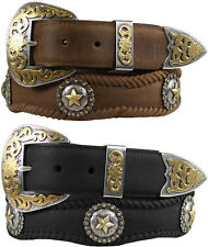 "Gold Abilene - Western Cowhide Star Berry Concho Leather Belt, 1-1/2"" Wide"
