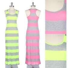 Neon Striped Tank Maxi Dress Sleeveless Racerback Full Length Long Cute Casual