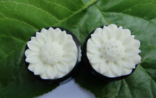 Pair Flower Double Flare Organic Horn Floral Bone Inlay Ear Plugs Gauges Tunnels