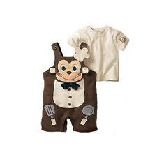 2pcs Baby Boy Toddler Girl Top+Pants Overalls Romper Cook Monkey Outfit Clothes