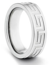 6MM Titanium Ladies/Mens Brushed Wedding Band Ring w/ Engraved Greek Design