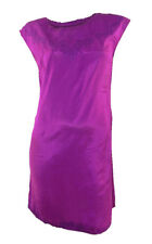 New Look Magenta Silky Look Sleeveless Shift Dress Embroidered Design at Neck