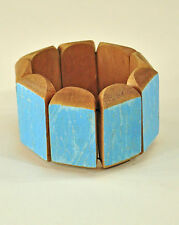 Reclaimed Jakung Wood Bracelet - wide yellow blue red eco artist made