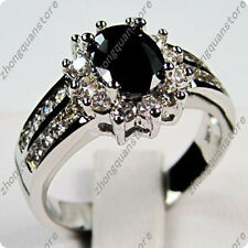 Jewelry nice Ring size 5 to 12 black sapphire lady's 10KT white Gold Filled free