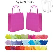22 x 18 x 8 cm Hot Pink Paper Party Gift Bags Wedding Favour Gift Bag & Tissue