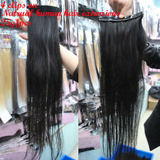 Free shipping Straight 100% Human Hair Four Clips In on Hair Extensions