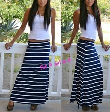 FOLD OVER WAIST NAVY BLUE WHITE LONG STRIPED MAXI KNIT SKIRT NAUTICAL BOHO S M L