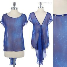 Studded Sheer Galaxy Printed Top with Back Ruffle Round Neck V Back Cute Unique
