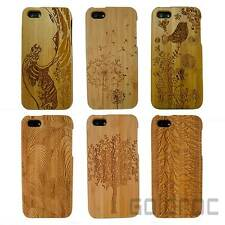 New Real Carbonized Bamboo Pattern Wood Wooden Hard Back Case Cover for iPhone 5